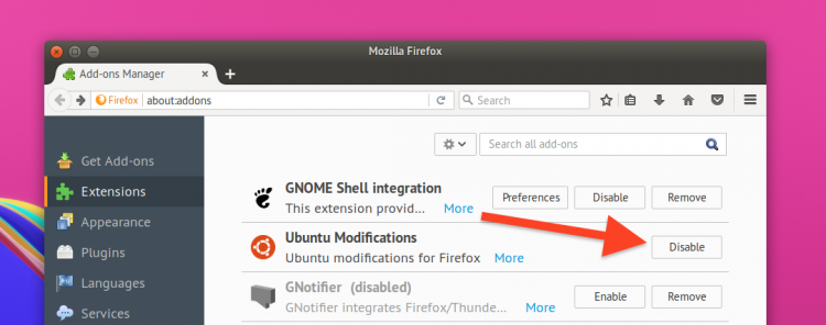 disable ubuntu modifications addon in firefox