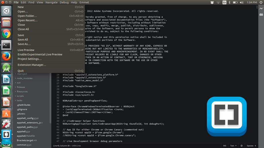 Native Linux Menus Finally Come to Brackets Code Editor