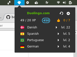 Duolingo Status gnome extension