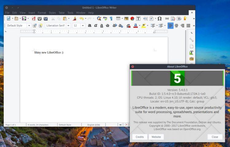 Cómo instalar o actualizar LibreOffice 5.4 en Ubuntu