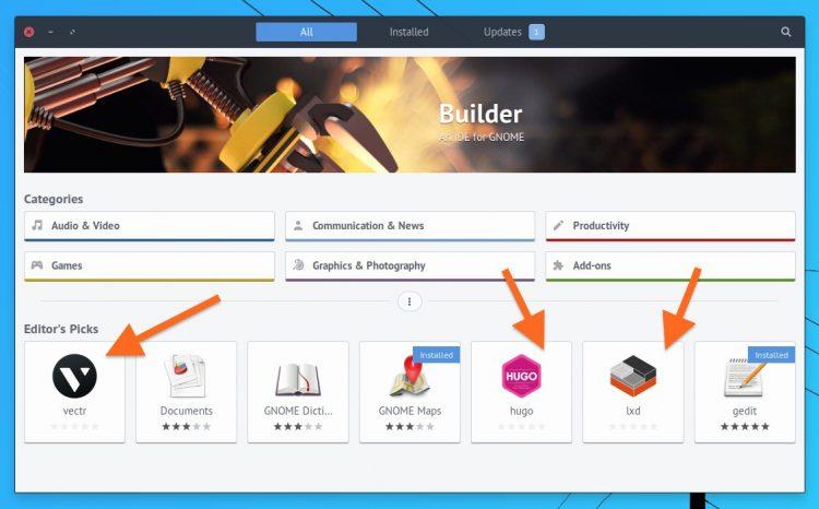 snap app editor's picks in Ubuntu Software 3.22