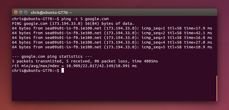 Pinging From the Command Line