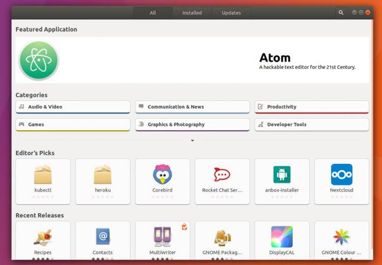 ubuntu software on ubuntu 17.10 desktop
