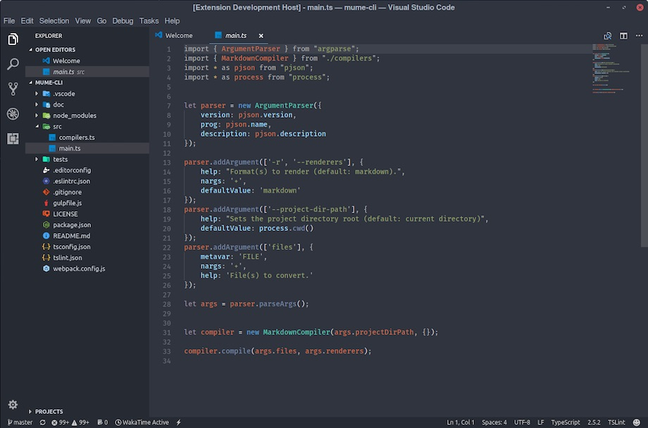 arc darker visual studio code theme