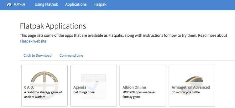 Flatpak apps on Flahub