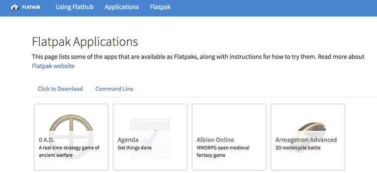 Flatpak apps on Flahub