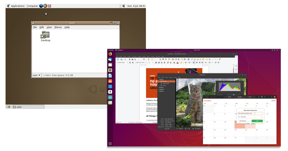 Ubuntu then and now