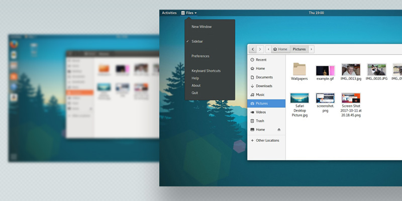 GNOME Shell desktop with app menu visible