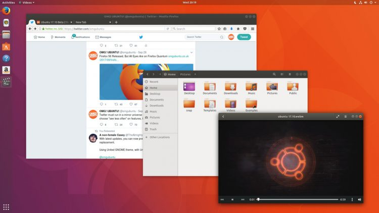 Ubuntu 17.10 desktop screenshot