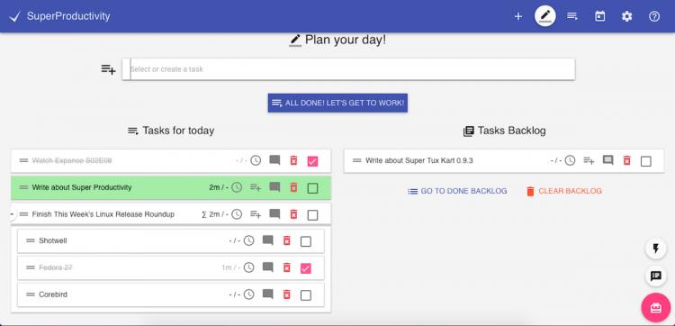 screenshot of super productivity app