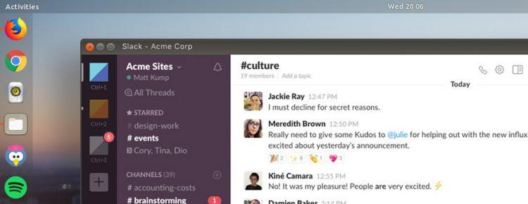 slack snap app on ubuntu desktop