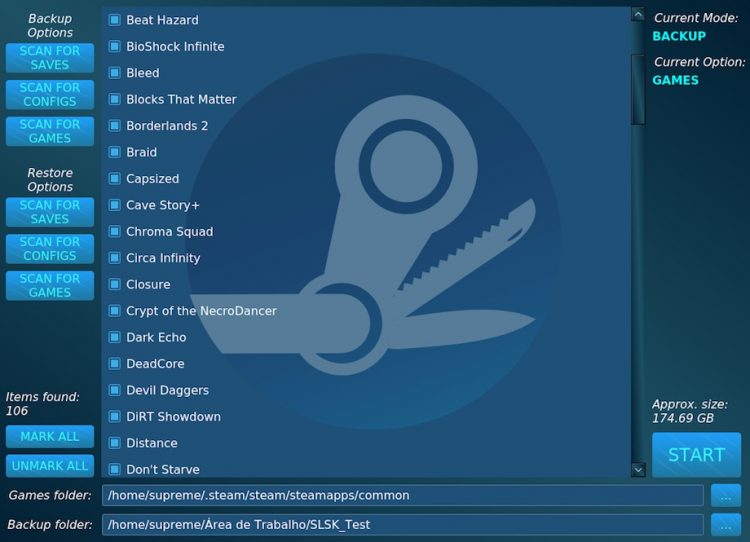 backup linux game saves on steam with SLSK