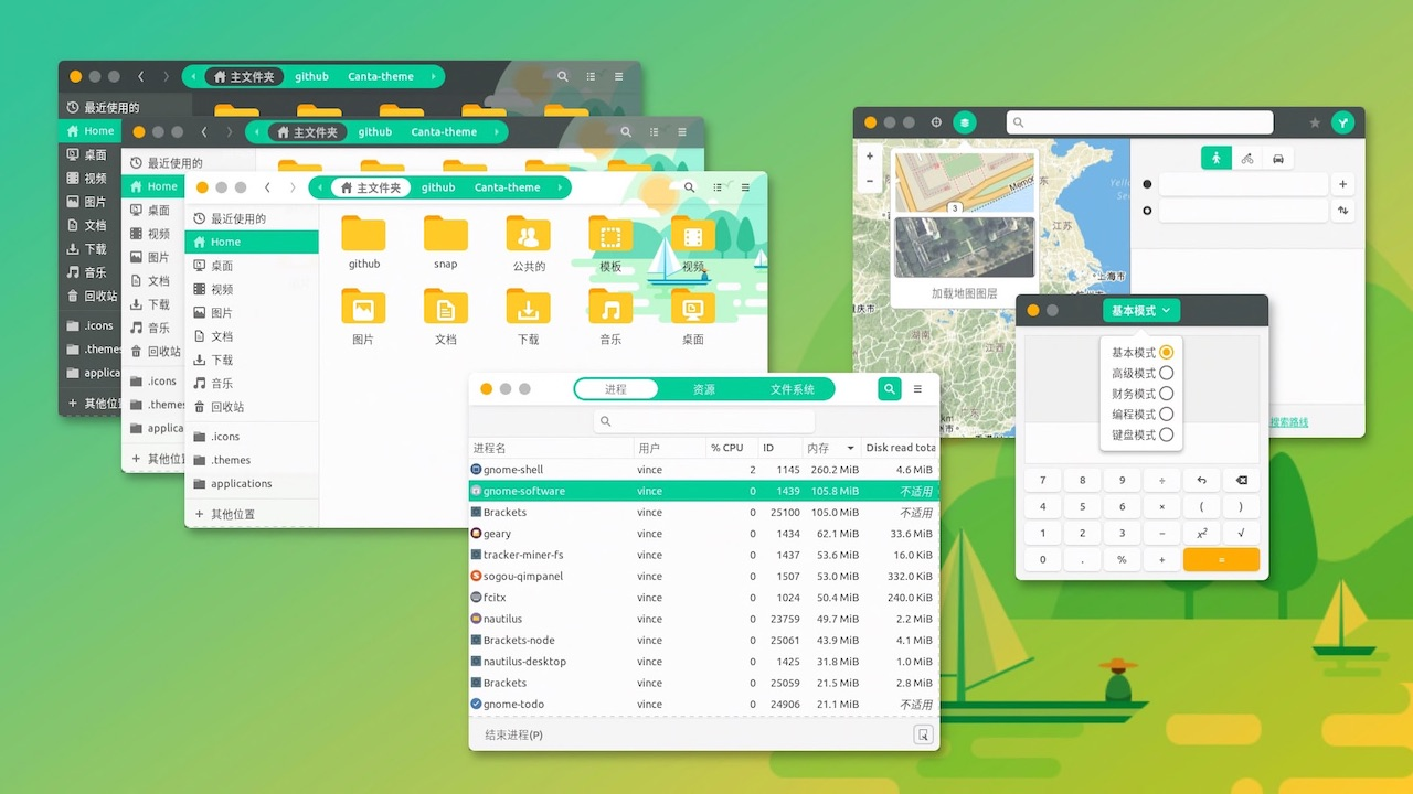 canta gtk theme with rounded corners