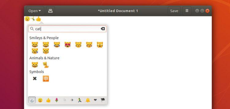 emoji picker in ubuntu 18.04 lts