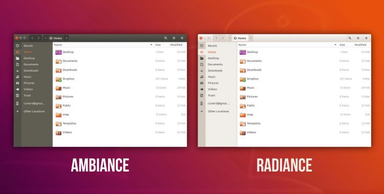 ubuntu 18.04 ambiance theme nautilus