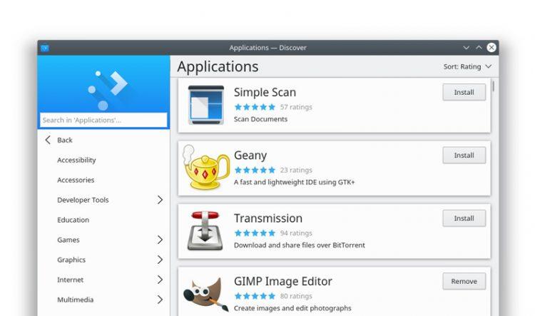 KDE Discover in Plasma 5.13