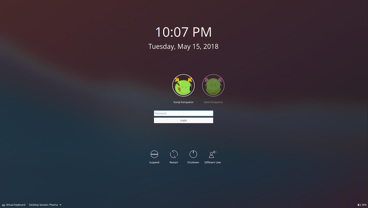 kde plasma 5.13 unlock screen