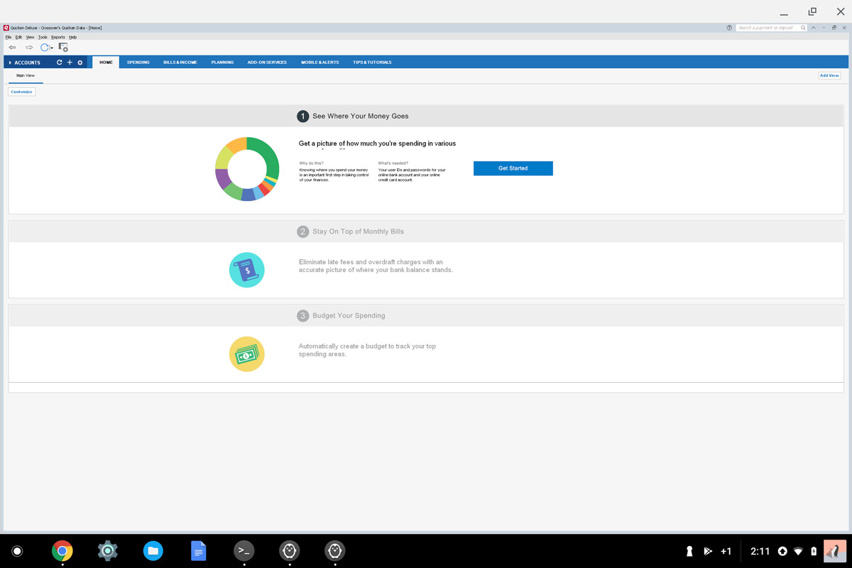 Quicken running on a Chromebook via CrossOver WINE for Linux