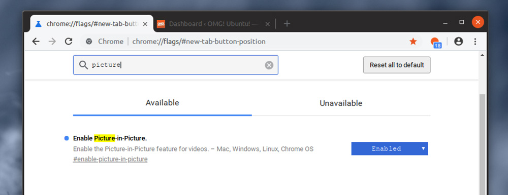 Enable Google Chrome Picture in Picture