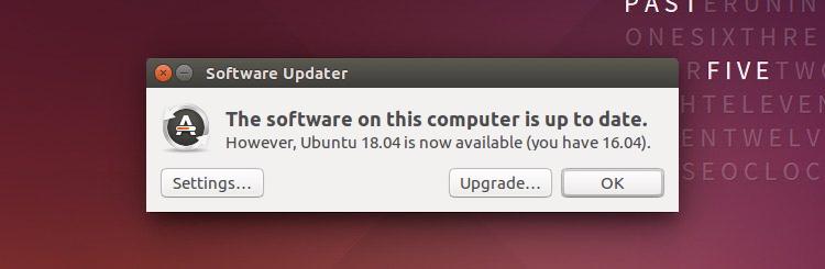 A screenshot of the ubuntu 18.04 upgrade notification