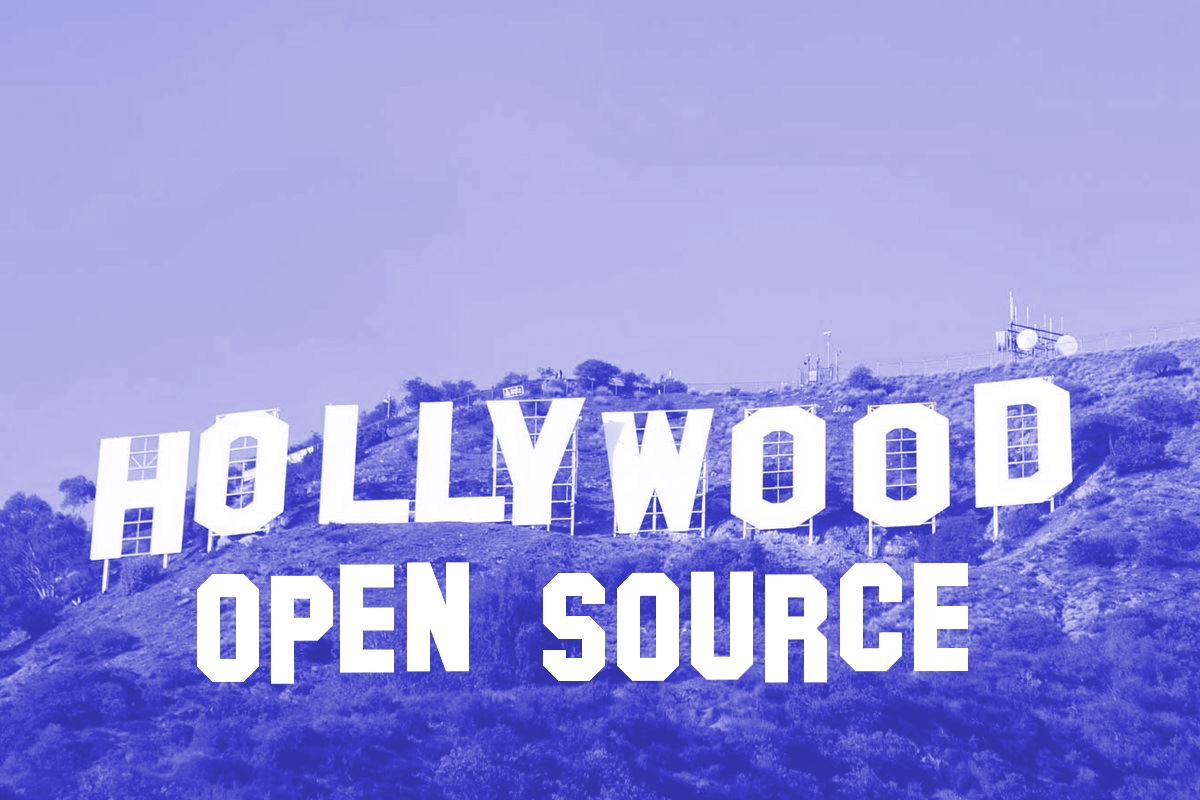 Hollywood sign with open source logo