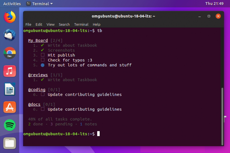 Taskbook is a CLI organiser