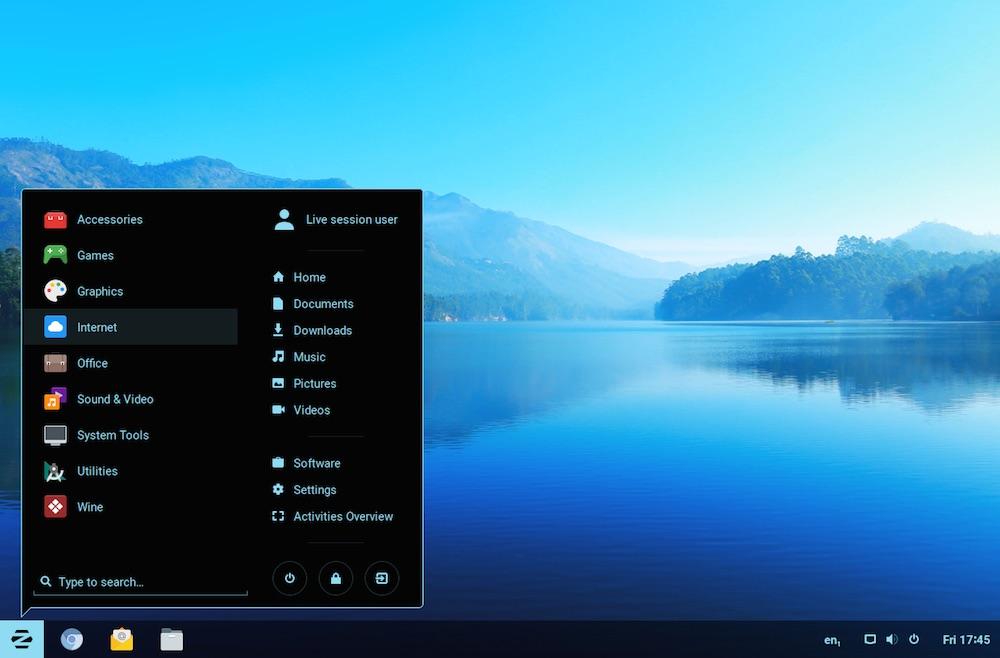 zorin os desktop screenshot with start menu open